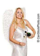 champagne, angeli, Natale