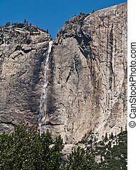 famous rock formation with waterfall in the romantic valley of yosemite park