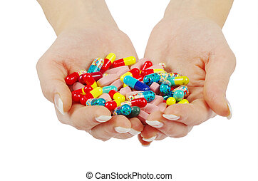 hands holds pills - hands holds pill isolated on white
