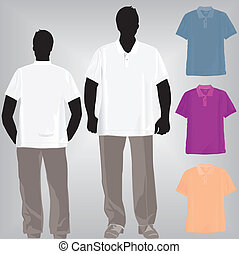 Shirt polo or tshirt template with collar and pant.