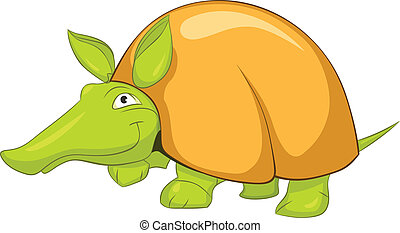 Cartoon Character Armadillo Isolated on White Background....