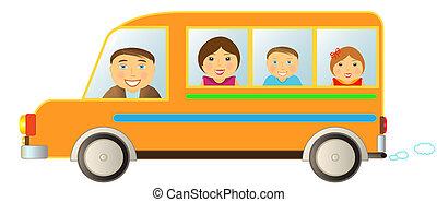 family in bus
