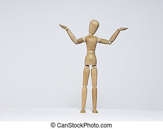 Wooden mannequin with a What do I know posture.