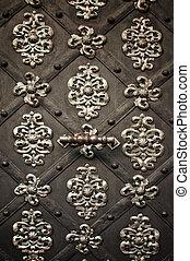 Vintage metal ornament - Metal ornament on dark meatl...