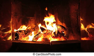fireplace - the dying embers in the fireplace