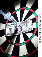 syringes and money on dartboard - syringes and money stuck...
