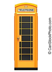 The British orange phone booth isolated on a white...
