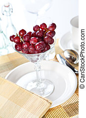 grapes in a cocktail glass