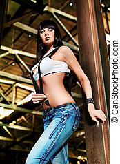 jeans - Shot of a sexy woman posing outdoor.