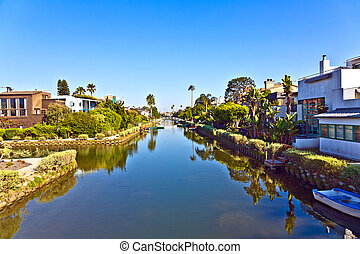 old canals of Venice in California, beautiful living area -...