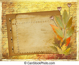 Grunge papers design in scrapbooking style with foliage and...