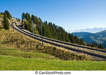 Railroad tracks in the mountains - Steep railroad tracks in...