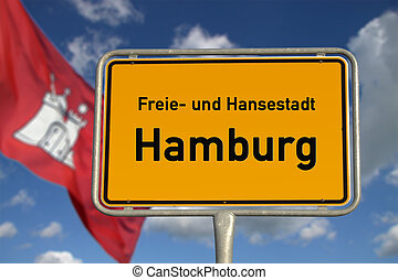 German road sign Hamburg, Bavaria - German road sign Hamburg...