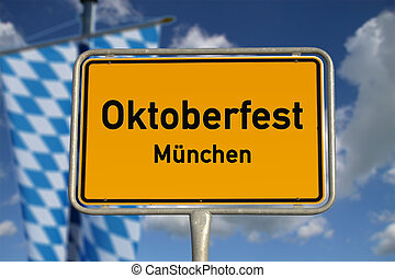 German road sign Oktoberfest Munich