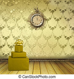 Antique clock and boxes of gifts in the old room with the remains of former beauty