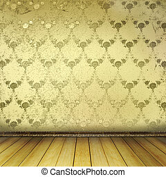 Old room with worn wallpaper and former beauty