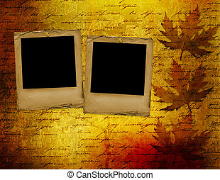 Grunge papers design in scrapbooking style with foliage