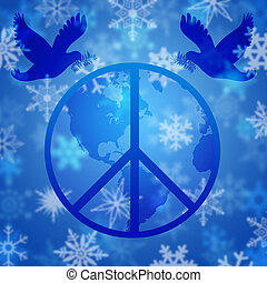 Peace Dove Over Earth Globe and Snowflakes - Christmas Peace...