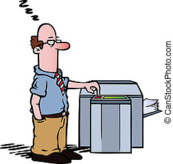 Employee at the copy machine - Employee standing half asleep...