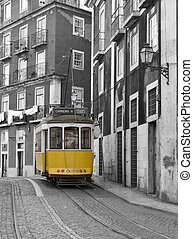 Classic tram. - Classic tram on the streets of Lisbon in...