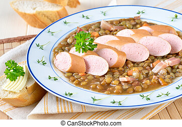 Lentil stew with sausages - Lentil stew with wiener and...