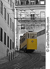 Funicular da Gloria. - Classic tram on the streets of Lisbon...