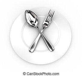 Fork and spoon on a plate - Illustration of fork and spoon...
