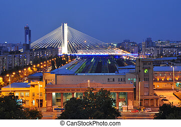 Basarab bridge and North Station in Bucharest - Basarab...