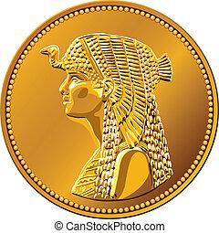 vector Egyptian money, gold coin featuring queen Cleopatra -...
