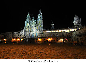 Cathedral of Santiago. - Night view of the Cathedral of...
