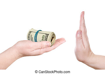 The hand gives a bribe on a white background