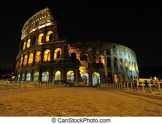 Amphitheater at Night, Rome - Night view of the Roman...