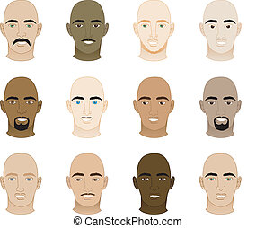 Bald Men Faces - Vector Illustration of 12 different Bald...