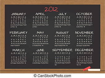 2012 calendar in chalkboard - illustration of 2012 calendar...