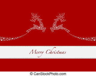 reindeer white from stars flying red background
