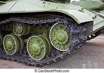 Caterpillars of the old Soviet light tank
