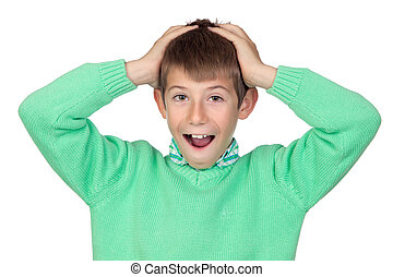 Surprised boy isolated on white background