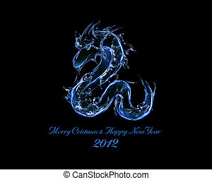 2012 is Year of Black Water Dragon - liquid concept of New...