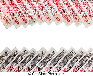 Many 50 pound sterling bank notes business background,...
