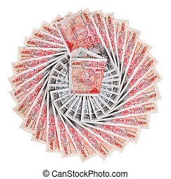 Many 50 pound sterling bank notes fanned out, isolated on white