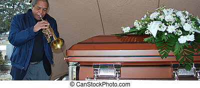 Jazz funeral - African american male trumpet player...