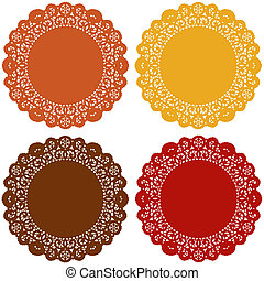 Thanksgiving Lace Doily Place Mats - Vintage lace doily...