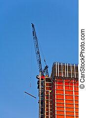 crane on skyscraper in New York