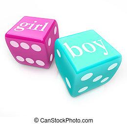 rolo, dados, -, entregar, Menino, ou, menina, bebê,...