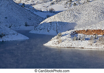 mountain lake in winter