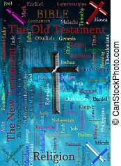 Word cloud concept illustration of BIBLE and Religion