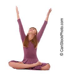 Yoga Practice - Young girl practicing yoga, isolated on...