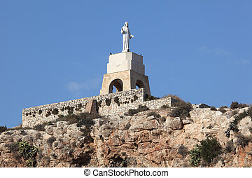 The statue of San Cristobal in the Alcazaba of Almeria,...