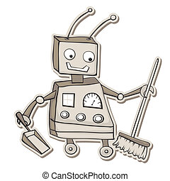 Cleaning robot - Retro style cartoon robot with broom and...
