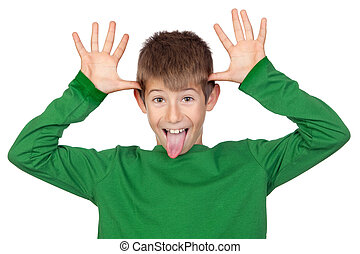 Funny child with green t-shirt mocking